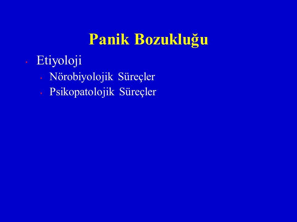 Etiyoloji Nörobiyolojik Süreçler Psikopatolojik Süreçler Panik Bozukluğu