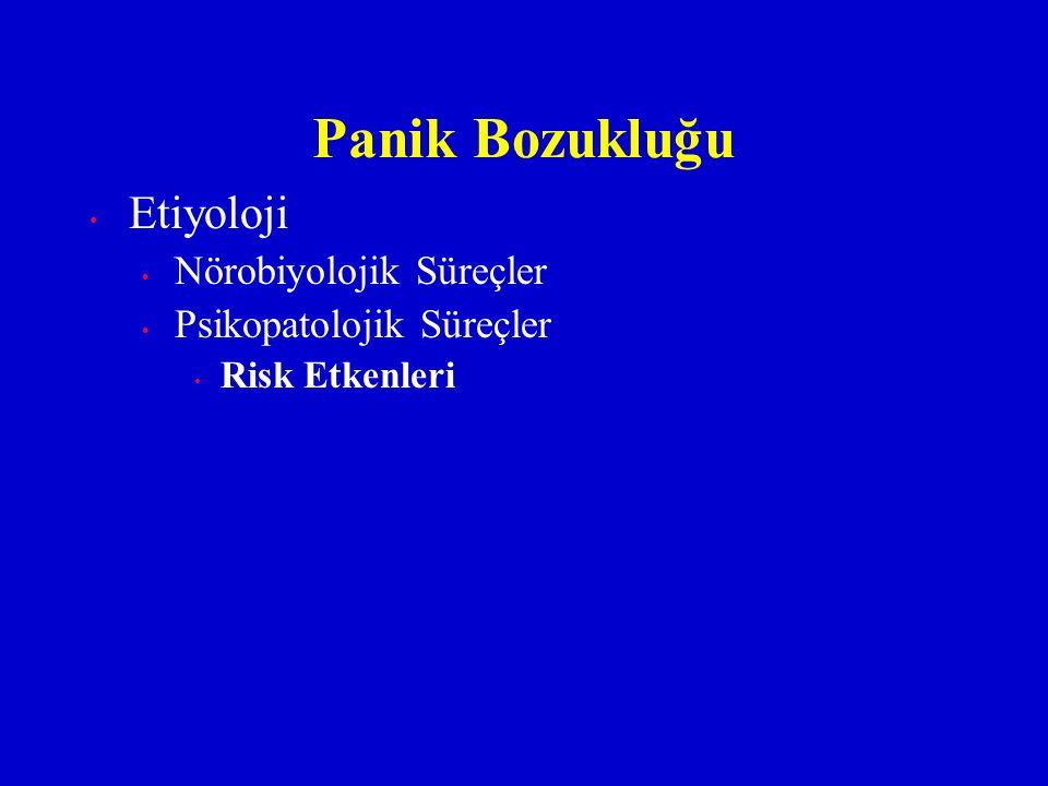 Etiyoloji Nörobiyolojik Süreçler Psikopatolojik Süreçler Risk Etkenleri Panik Bozukluğu