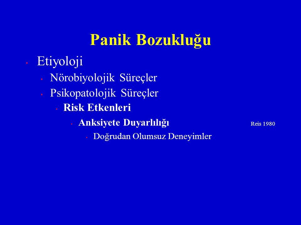 Etiyoloji Nörobiyolojik Süreçler Psikopatolojik Süreçler Risk Etkenleri Anksiyete Duyarlılığı Reis 1980 Doğrudan Olumsuz Deneyimler Panik Bozukluğu