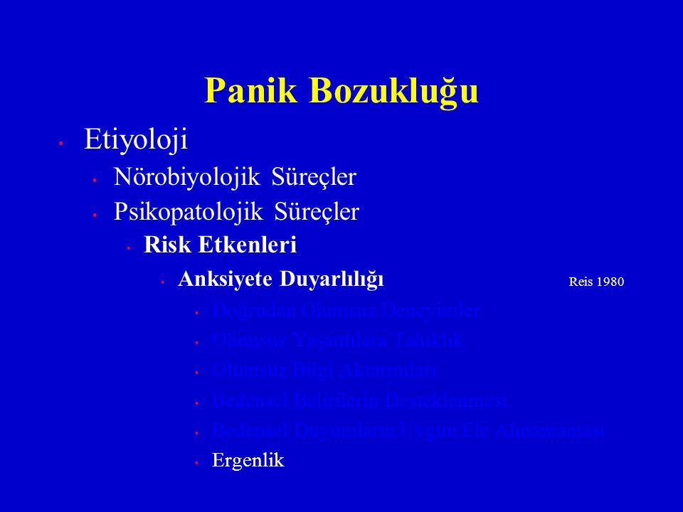 Etiyoloji Nörobiyolojik Süreçler Psikopatolojik Süreçler Risk Etkenleri Anksiyete Duyarlılığı Reis 1980 Doğrudan Olumsuz Deneyimler Olumsuz Yaşantılar