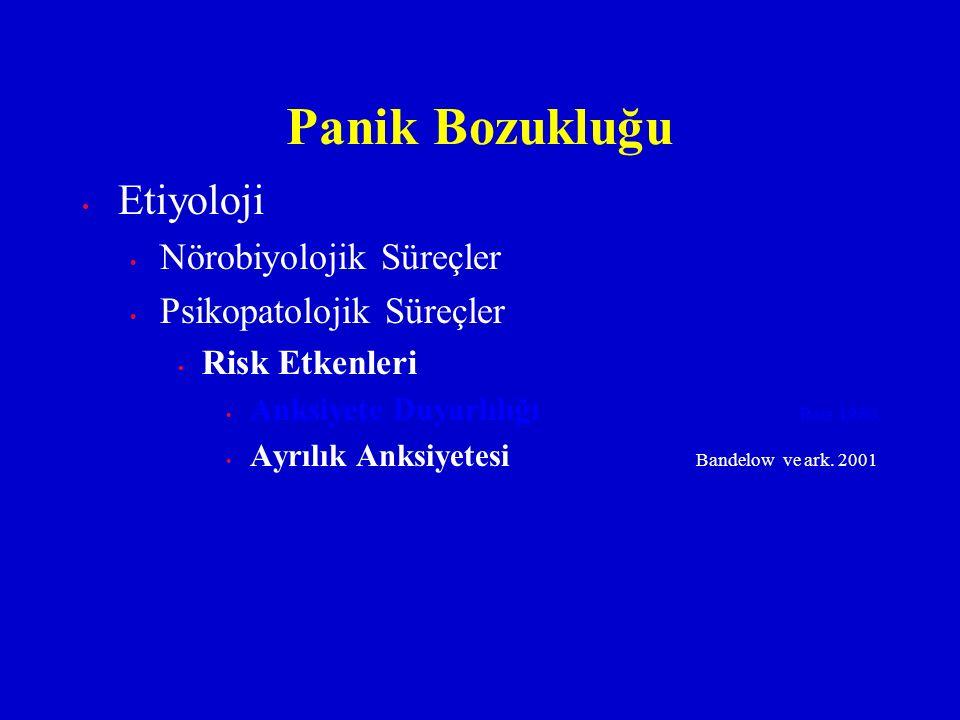 Etiyoloji Nörobiyolojik Süreçler Psikopatolojik Süreçler Risk Etkenleri Anksiyete Duyarlılığı Reis 1980 Ayrılık Anksiyetesi Bandelow ve ark. 2001 Pani