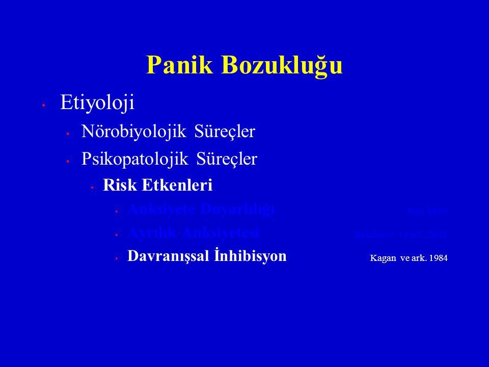 Etiyoloji Nörobiyolojik Süreçler Psikopatolojik Süreçler Risk Etkenleri Anksiyete Duyarlılığı Reis 1980 Ayrılık Anksiyetesi Bandelow ve ark. 2001 Davr
