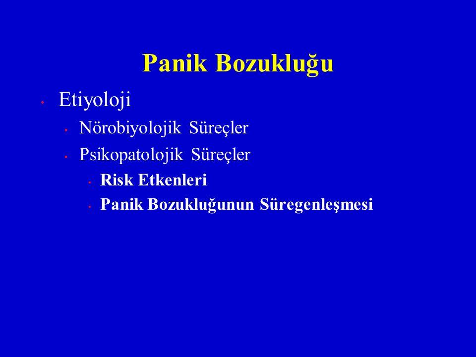 Etiyoloji Nörobiyolojik Süreçler Psikopatolojik Süreçler Risk Etkenleri Panik Bozukluğunun Süregenleşmesi Panik Bozukluğu