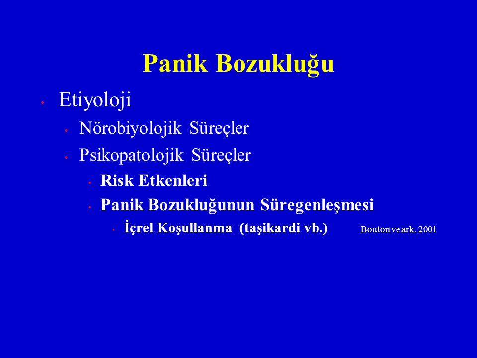 Etiyoloji Nörobiyolojik Süreçler Psikopatolojik Süreçler Risk Etkenleri Panik Bozukluğunun Süregenleşmesi İçrel Koşullanma (taşikardi vb.) Bouton ve a