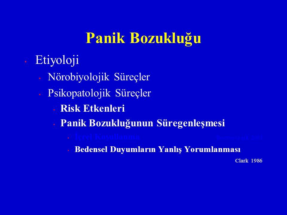 Etiyoloji Nörobiyolojik Süreçler Psikopatolojik Süreçler Risk Etkenleri Panik Bozukluğunun Süregenleşmesi İçrel Koşullanma Bouton ve ark. 2001 Bedense