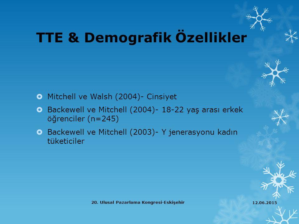 TTE & Demografik Özellikler  Mitchell ve Walsh (2004)- Cinsiyet  Backewell ve Mitchell (2004)- 18-22 yaş arası erkek öğrenciler (n=245)  Backewell