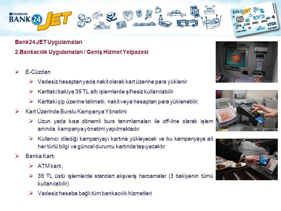 Bank24 JET Uygulamaları 2.Bankacılık Uygulamaları / Geniş Hizmet Yelpazesi  E-Cüzdan  Vadesiz hesaptan yada nakit olarak kart üzerine para yüklenir