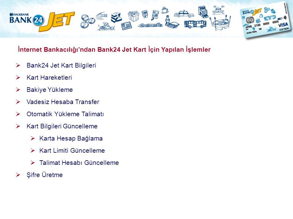 İnternet Bankacılığı'ndan Bank24 Jet Kart İçin Yapılan İşlemler  Bank24 Jet Kart Bilgileri  Kart Hareketleri  Bakiye Yükleme  Vadesiz Hesaba Trans