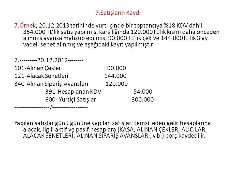7.Satışların Kaydı 7.Örnek; 20.12.2013 tarihinde yurt içinde bir toptancıya %18 KDV dahil 354.000 TL'lık satış yapılmış, karşılığında 120.000TL'lık kı