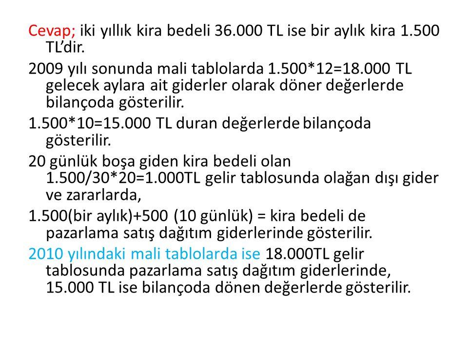 Cevap; iki yıllık kira bedeli 36.000 TL ise bir aylık kira 1.500 TL'dir. 2009 yılı sonunda mali tablolarda 1.500*12=18.000 TL gelecek aylara ait gider