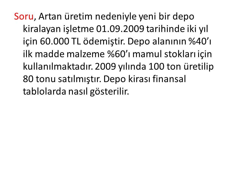Soru, Artan üretim nedeniyle yeni bir depo kiralayan işletme 01.09.2009 tarihinde iki yıl için 60.000 TL ödemiştir. Depo alanının %40'ı ilk madde malz