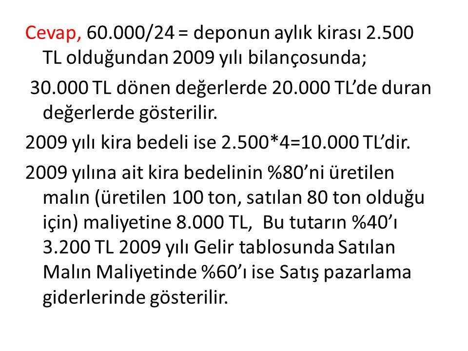 Cevap, 60.000/24 = deponun aylık kirası 2.500 TL olduğundan 2009 yılı bilançosunda; 30.000 TL dönen değerlerde 20.000 TL'de duran değerlerde gösterili