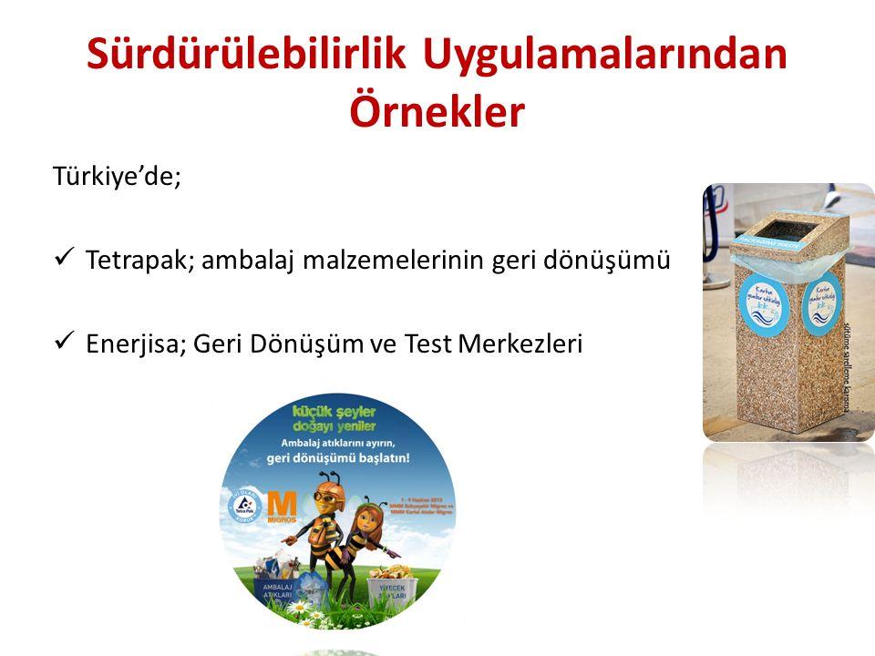 Sürdürülebilirlik Uygulamalarından Örnekler Türkiye'de; Tetrapak; ambalaj malzemelerinin geri dönüşümü Enerjisa; Geri Dönüşüm ve Test Merkezleri