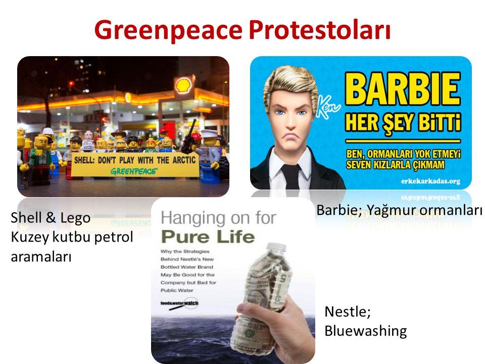 Greenpeace Protestoları Shell & Lego Kuzey kutbu petrol aramaları Barbie; Yağmur ormanları Nestle; Bluewashing
