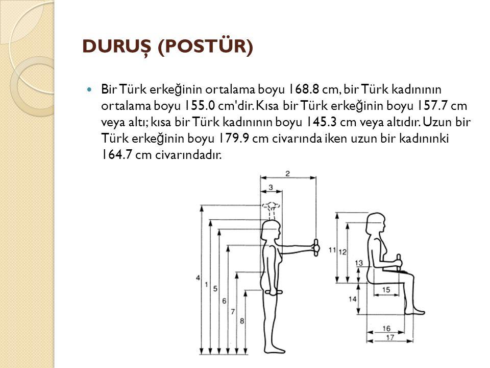 DURUŞ (POSTÜR) Bir Türk erke ğ inin ortalama boyu 168.8 cm, bir Türk kadınının ortalama boyu 155.0 cm'dir. Kısa bir Türk erke ğ inin boyu 157.7 cm ve