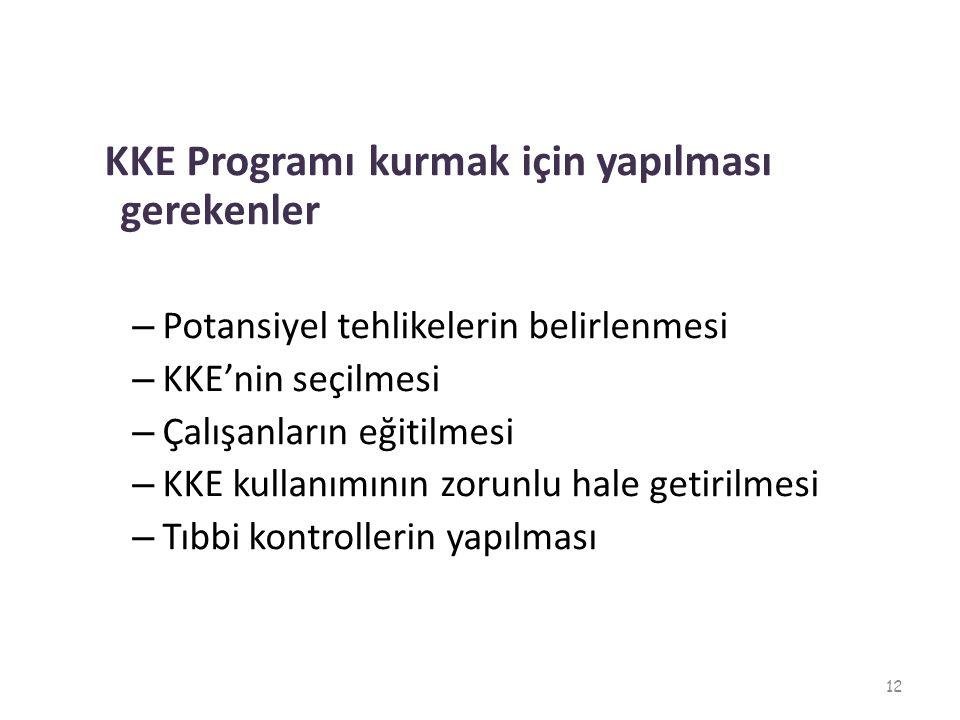 KKE Programı kurmak için yapılması gerekenler – Potansiyel tehlikelerin belirlenmesi – KKE'nin seçilmesi – Çalışanların eğitilmesi – KKE kullanımının