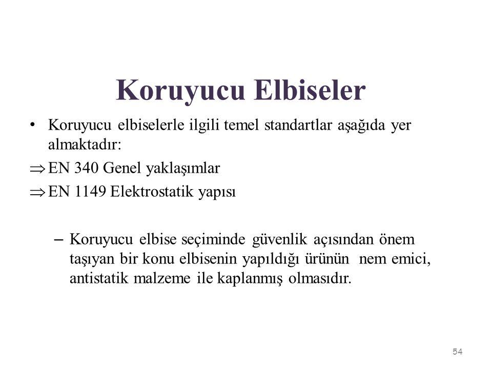 Koruyucu Elbiseler Koruyucu elbiselerle ilgili temel standartlar aşağıda yer almaktadır:  EN 340 Genel yaklaşımlar  EN 1149 Elektrostatik yapısı – K