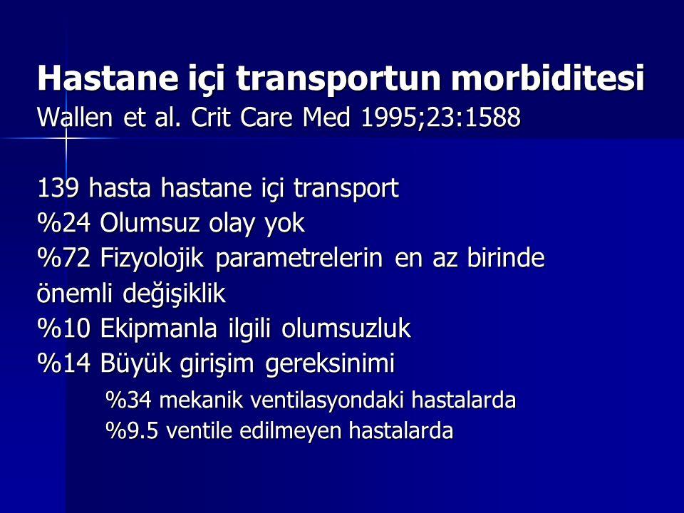 Hastane içi transportun morbiditesi Wallen et al.