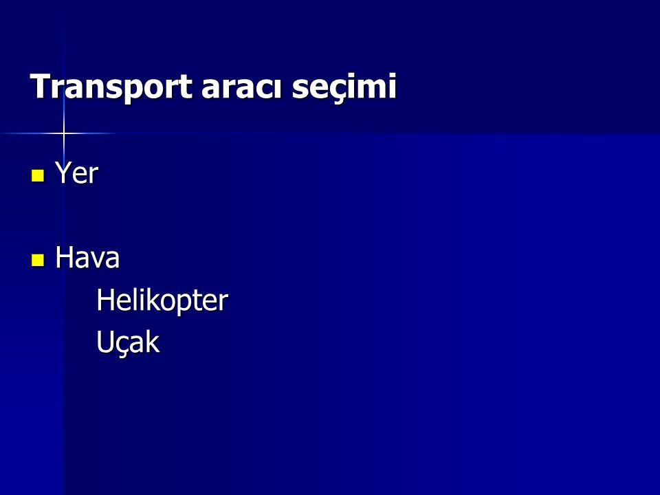 Transport aracı seçimi Yer Yer Hava HavaHelikopterUçak