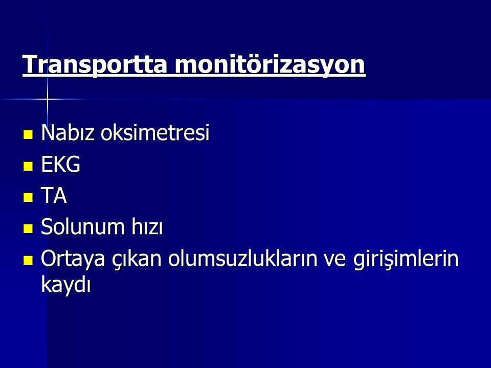 Transportta monitörizasyon Nabız oksimetresi Nabız oksimetresi EKG EKG TA TA Solunum hızı Solunum hızı Ortaya çıkan olumsuzlukların ve girişimlerin kaydı Ortaya çıkan olumsuzlukların ve girişimlerin kaydı