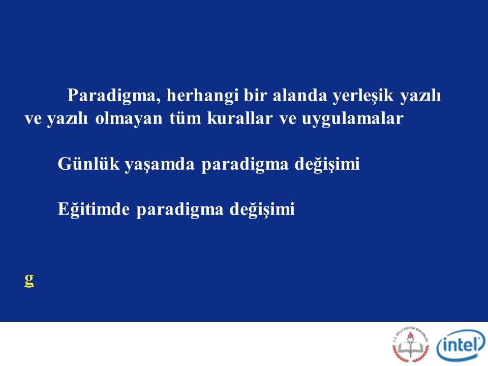 Paradigma, herhangi bir alanda yerleşik yazılı ve yazılı olmayan tüm kurallar ve uygulamalar Günlük yaşamda paradigma değişimi Eğitimde paradigma değişimi g g