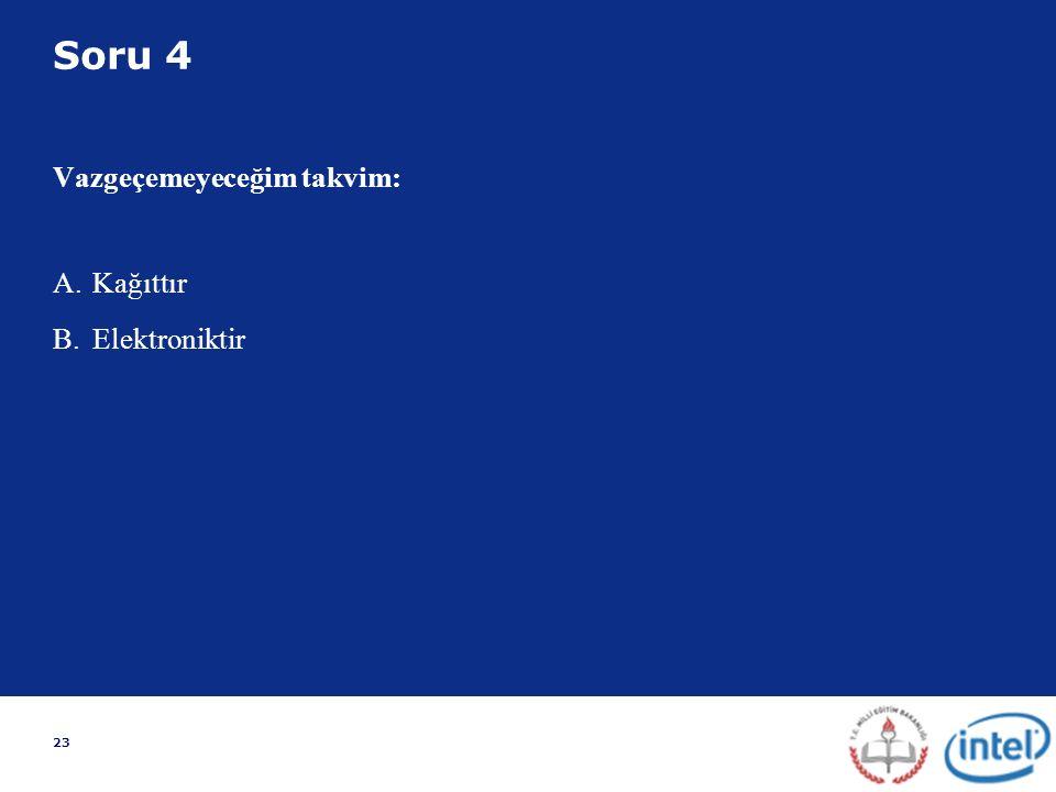 23 Soru 4 Vazgeçemeyeceğim takvim: A.Kağıttır B.Elektroniktir