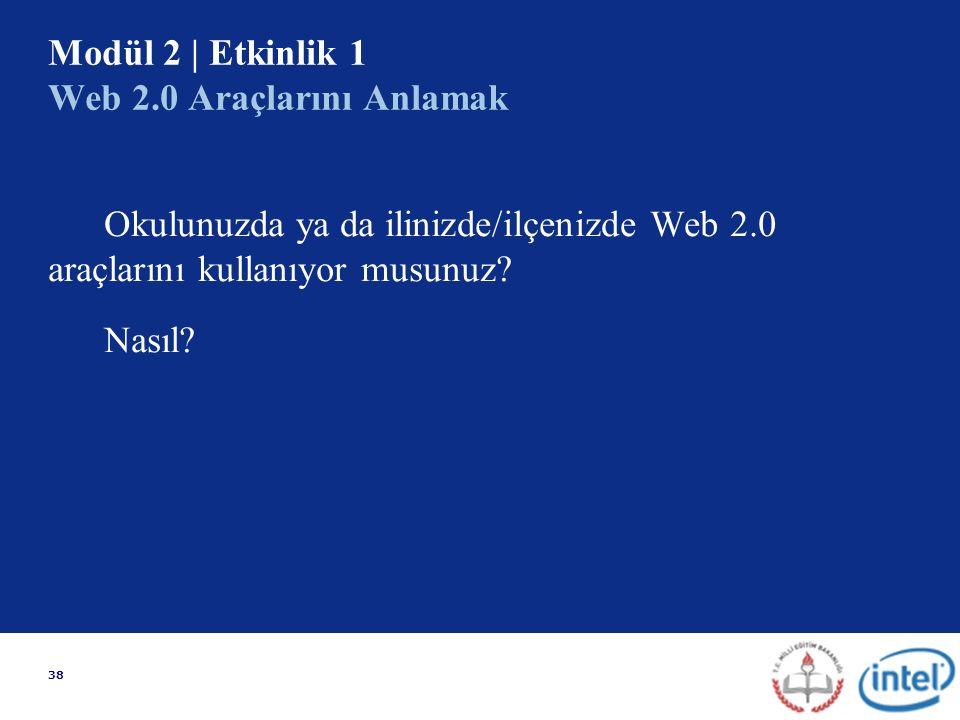 38 Modül 2 | Etkinlik 1 Web 2.0 Araçlarını Anlamak Okulunuzda ya da ilinizde/ilçenizde Web 2.0 araçlarını kullanıyor musunuz.
