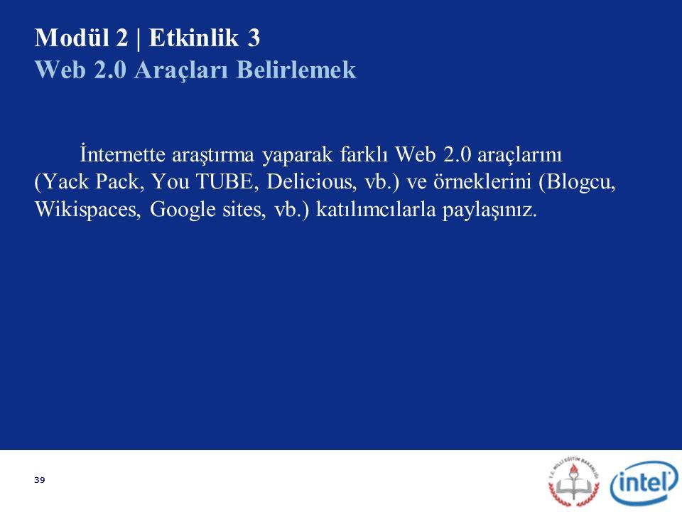 39 Modül 2 | Etkinlik 3 Web 2.0 Araçları Belirlemek İnternette araştırma yaparak farklı Web 2.0 araçlarını (Yack Pack, You TUBE, Delicious, vb.) ve örneklerini (Blogcu, Wikispaces, Google sites, vb.) katılımcılarla paylaşınız.