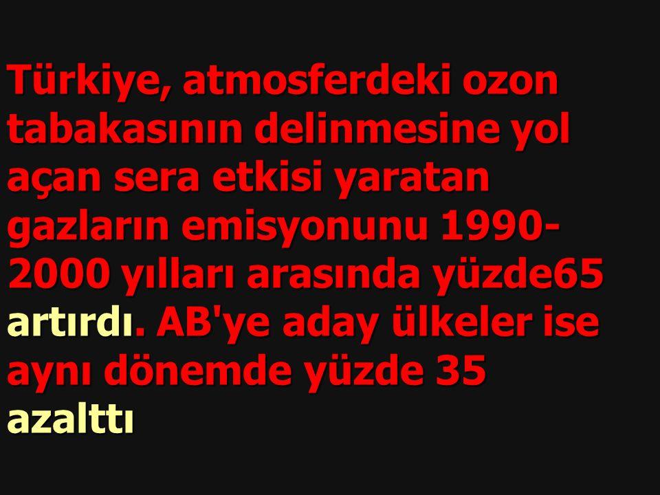 Türkiye, atmosferdeki ozon tabakasının delinmesine yol açan sera etkisi yaratan gazların emisyonunu 1990- 2000 yılları arasında yüzde65 artırdı.