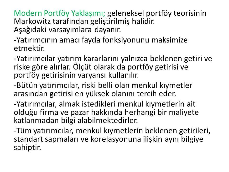 Modern Portföy Yaklaşımı; geleneksel portföy teorisinin Markowitz tarafından geliştirilmiş halidir. Aşağıdaki varsayımlara dayanır. -Yatırımcının amac