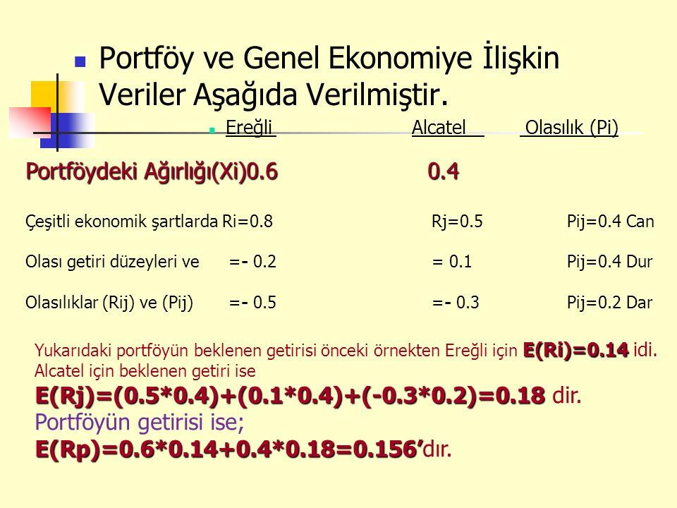 Portföy ve Genel Ekonomiye İlişkin Veriler Aşağıda Verilmiştir. EreğliAlcatel Olasılık (Pi) Portföydeki Ağırlığı(Xi)0.6 0.4 Çeşitli ekonomik şartlarda
