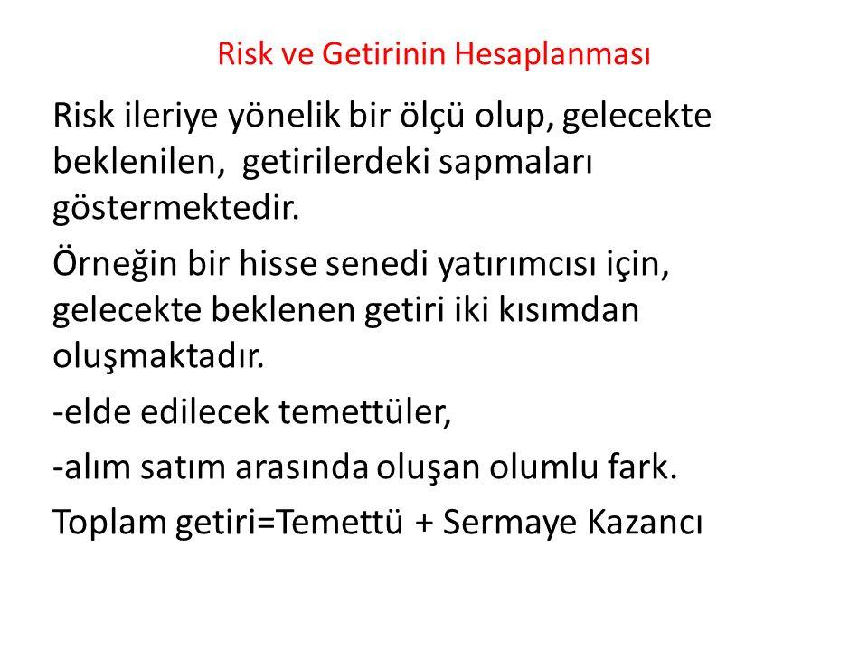Risk ve Getirinin Hesaplanması Risk ileriye yönelik bir ölçü olup, gelecekte beklenilen, getirilerdeki sapmaları göstermektedir. Örneğin bir hisse sen