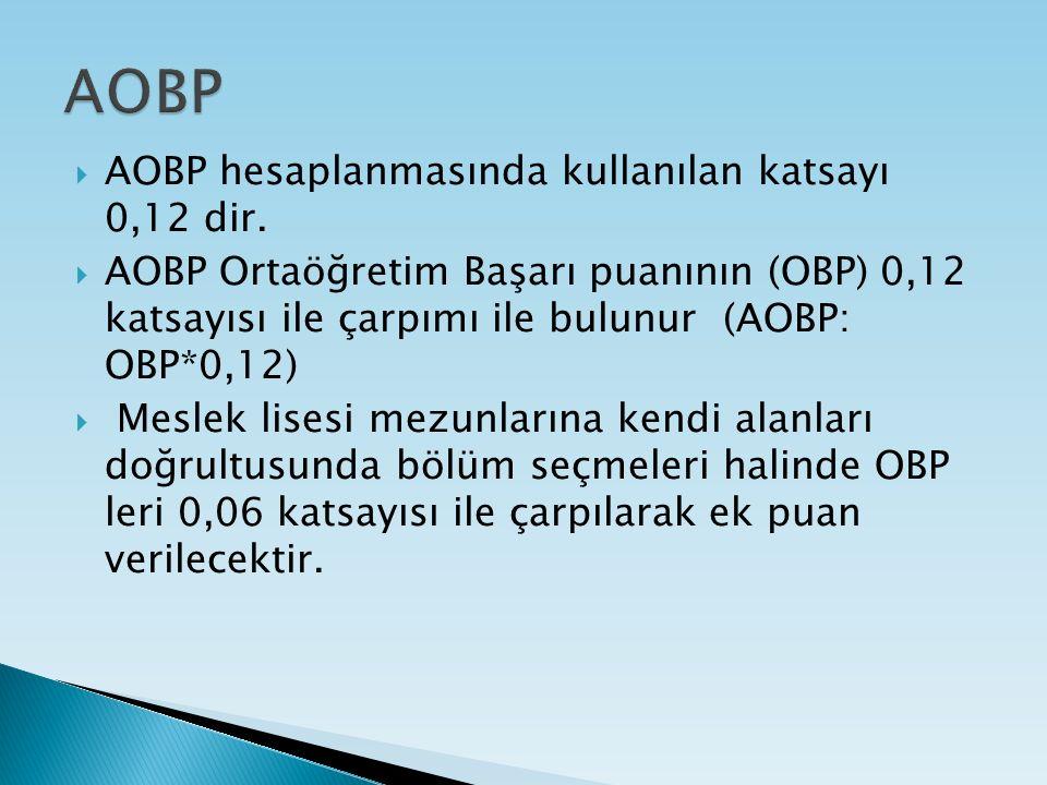  AOBP hesaplanmasında kullanılan katsayı 0,12 dir.  AOBP Ortaöğretim Başarı puanının (OBP) 0,12 katsayısı ile çarpımı ile bulunur (AOBP: OBP*0,12) 
