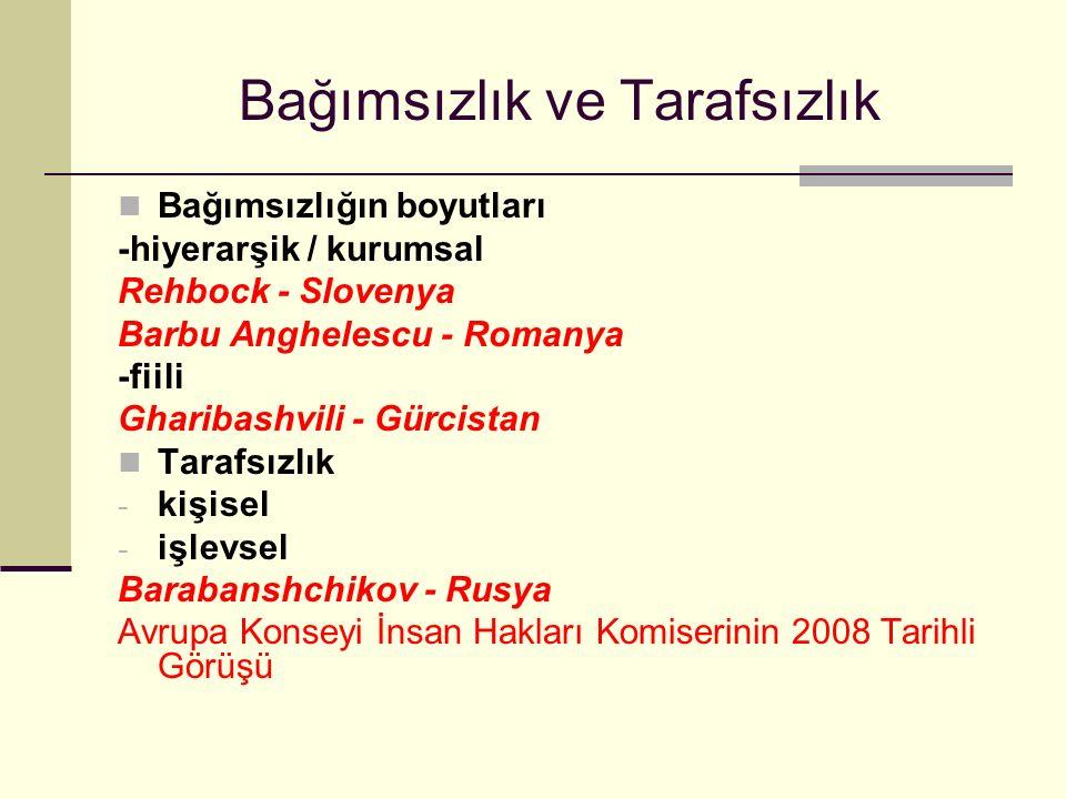 Bağımsızlık ve Tarafsızlık Bağımsızlığın boyutları -hiyerarşik / kurumsal Rehbock - Slovenya Barbu Anghelescu - Romanya -fiili Gharibashvili - Gürcistan Tarafsızlık - kişisel - işlevsel Barabanshchikov - Rusya Avrupa Konseyi İnsan Hakları Komiserinin 2008 Tarihli Görüşü
