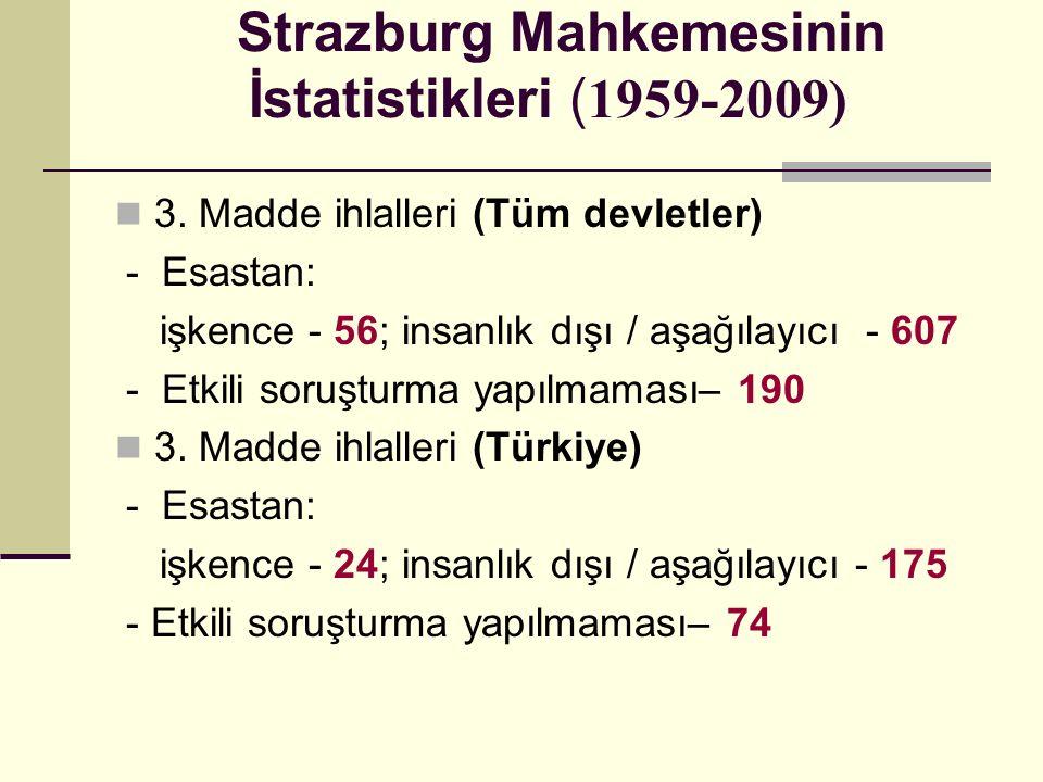 Strazburg Mahkemesinin İstatistikleri ( 1959-2009) 3. Madde ihlalleri (Tüm devletler) - Esastan: işkence - 56; insanlık dışı / aşağılayıcı - 607 - Etk