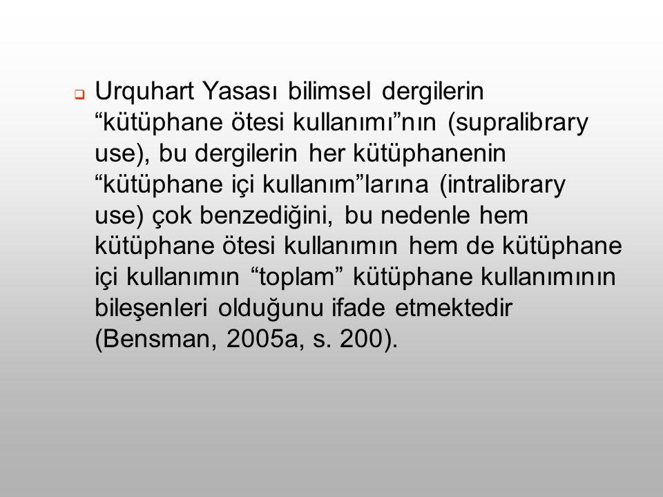  ULAKBİM'de kullanılan dergilerin kullanım sıklıkları bu dergilerin Türkiye'deki konsorsiyal toplam kullanım değerinin bir göstergesi olarak yorumlanabilir mi.