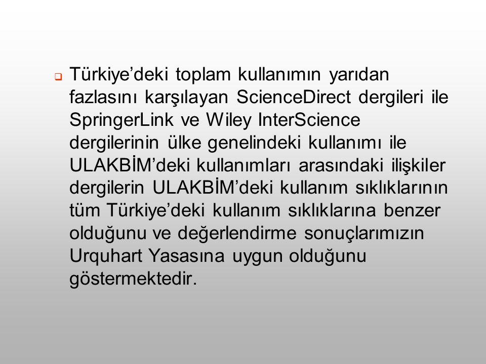  Türkiye'deki toplam kullanımın yarıdan fazlasını karşılayan ScienceDirect dergileri ile SpringerLink ve Wiley InterScience dergilerinin ülke genelindeki kullanımı ile ULAKBİM'deki kullanımları arasındaki ilişkiler dergilerin ULAKBİM'deki kullanım sıklıklarının tüm Türkiye'deki kullanım sıklıklarına benzer olduğunu ve değerlendirme sonuçlarımızın Urquhart Yasasına uygun olduğunu göstermektedir.