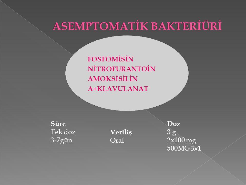 FOSFOMİSİN NİTROFURANTOİN AMOKSİSİLİN A+KLAVULANAT Doz 3 g 2x100 mg 500MG 3x1 Veriliş Oral Süre Tek doz 3-7gün