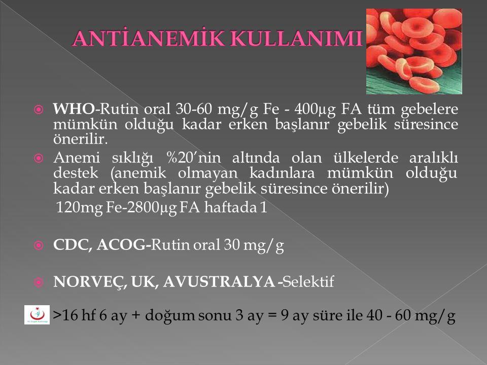 WHO -Rutin oral 30-60 mg/g Fe - 400µg FA tüm gebelere mümkün olduğu kadar erken başlanır gebelik süresince önerilir.