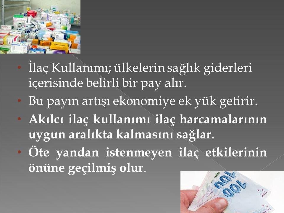 İlaç Kullanımı; ülkelerin sağlık giderleri içerisinde belirli bir pay alır.
