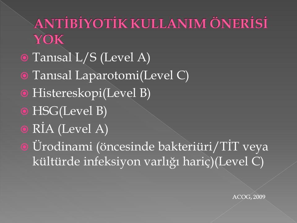  Tanısal L/S (Level A)  Tanısal Laparotomi(Level C)  Histereskopi(Level B)  HSG(Level B)  RİA (Level A)  Ürodinami (öncesinde bakteriüri/TİT veya kültürde infeksiyon varlığı hariç)(Level C) ACOG, 2009