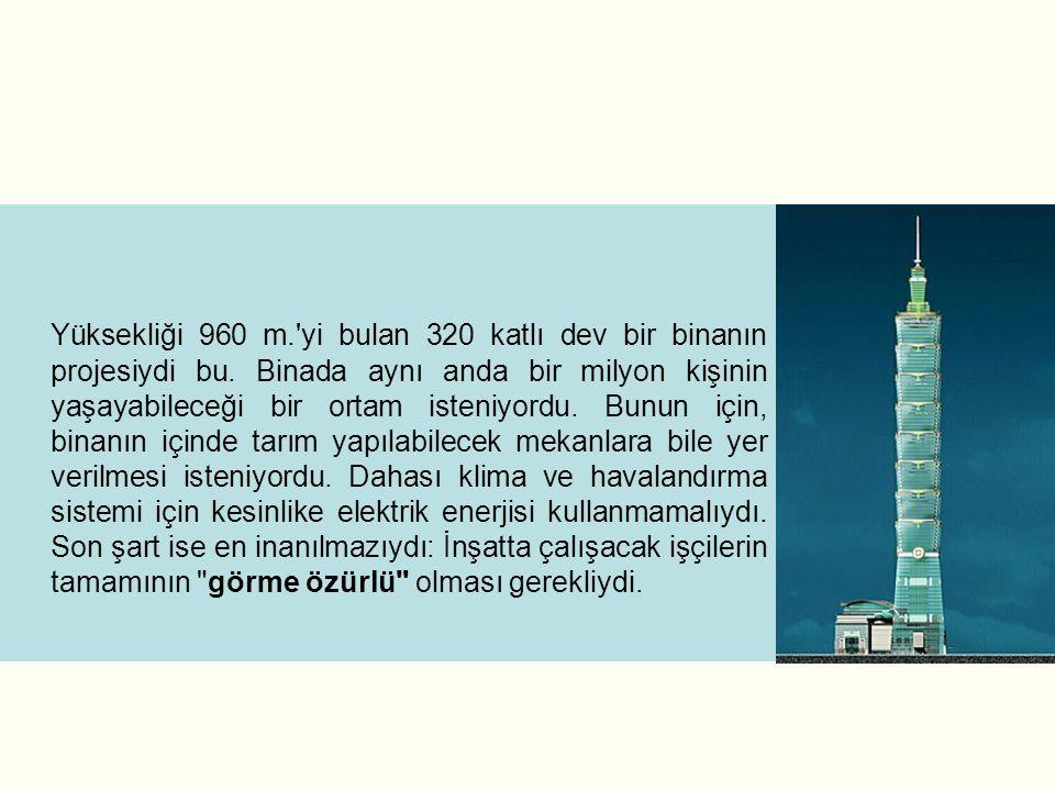 Yüksekliği 960 m. yi bulan 320 katlı dev bir binanın projesiydi bu.