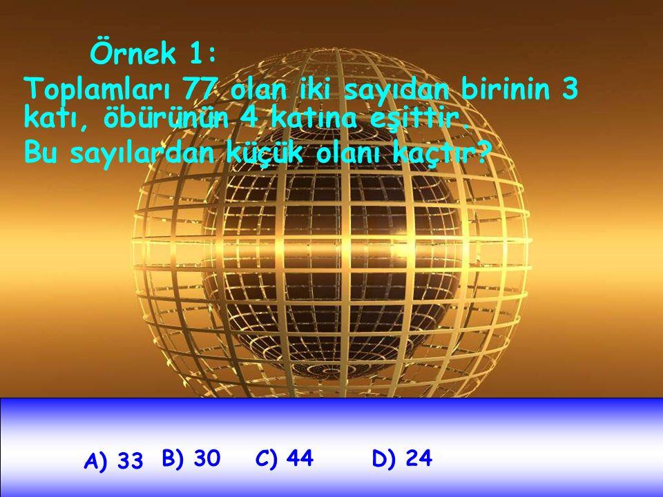 Örnek 1: Toplamları 77 olan iki sayıdan birinin 3 katı, öbürünün 4 katına eşittir. Bu sayılardan küçük olanı kaçtır? A) 33 B) 30C) 44D) 24