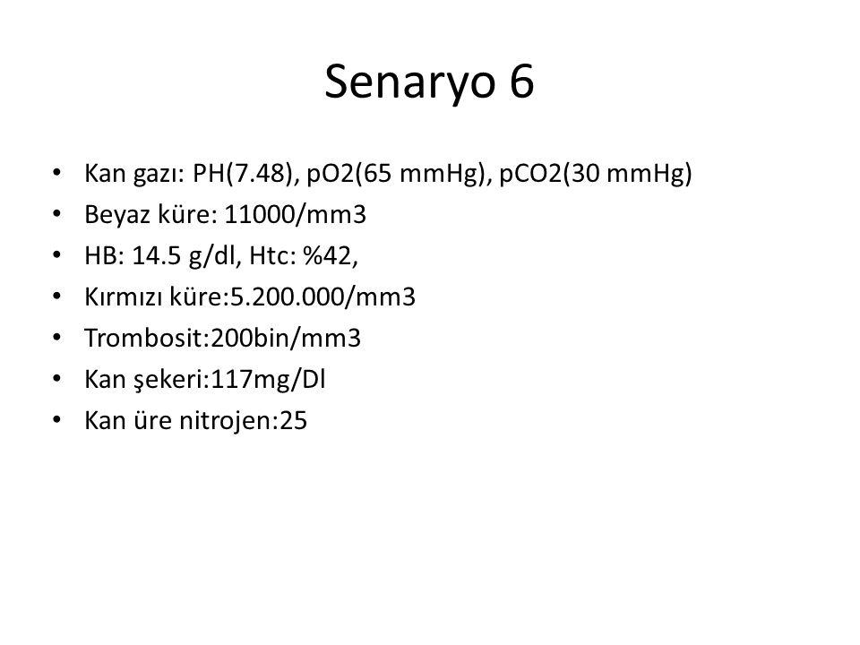 Senaryo 6 Kan gazı: PH(7.48), pO2(65 mmHg), pCO2(30 mmHg) Beyaz küre: 11000/mm3 HB: 14.5 g/dl, Htc: %42, Kırmızı küre:5.200.000/mm3 Trombosit:200bin/m