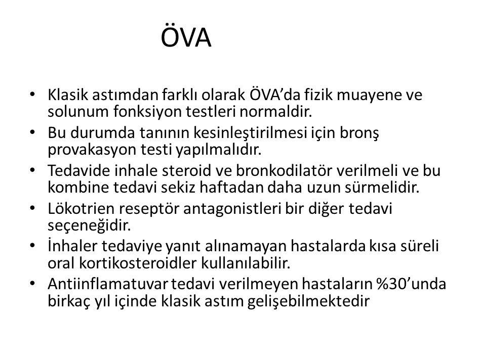 ÖVA Klasik astımdan farklı olarak ÖVA'da fizik muayene ve solunum fonksiyon testleri normaldir. Bu durumda tanının kesinleştirilmesi için bronş provak