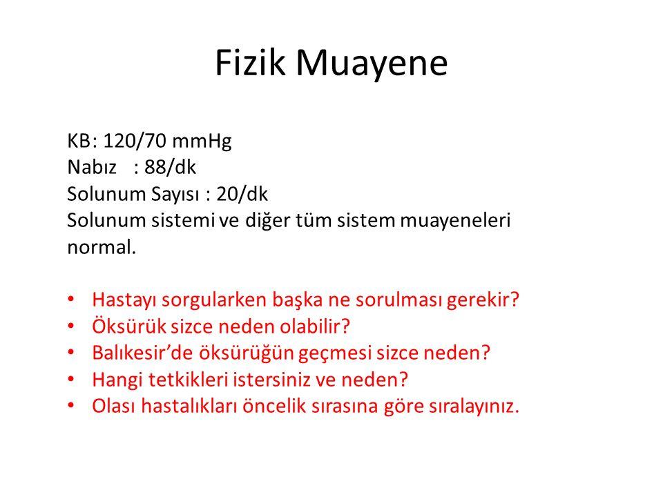 Fizik Muayene KB: 120/70 mmHg Nabız: 88/dk Solunum Sayısı : 20/dk Solunum sistemi ve diğer tüm sistem muayeneleri normal. Hastayı sorgularken başka ne