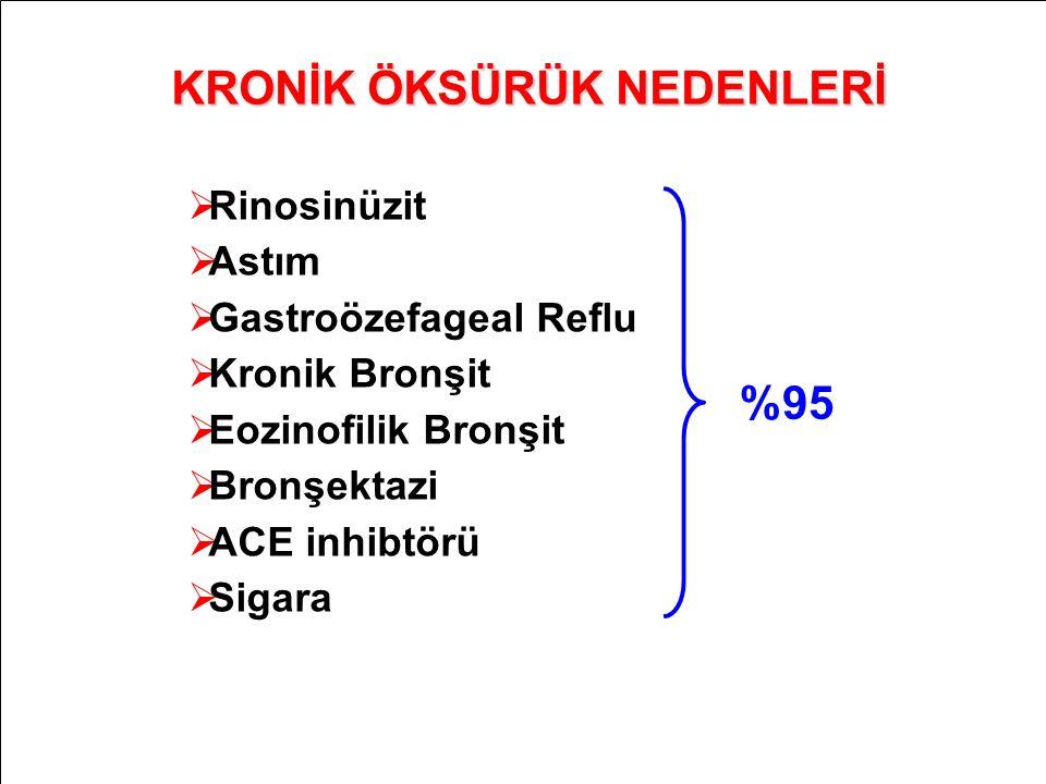 % 25 %20 %34 ERS Task Force Eur Respir J 24:481-92; 2004 KRONİK ÖKSÜRÜK NEDENLERİ  Rinosinüzit  Astım  Gastroözefageal Reflu  Kronik Bronşit  Eoz