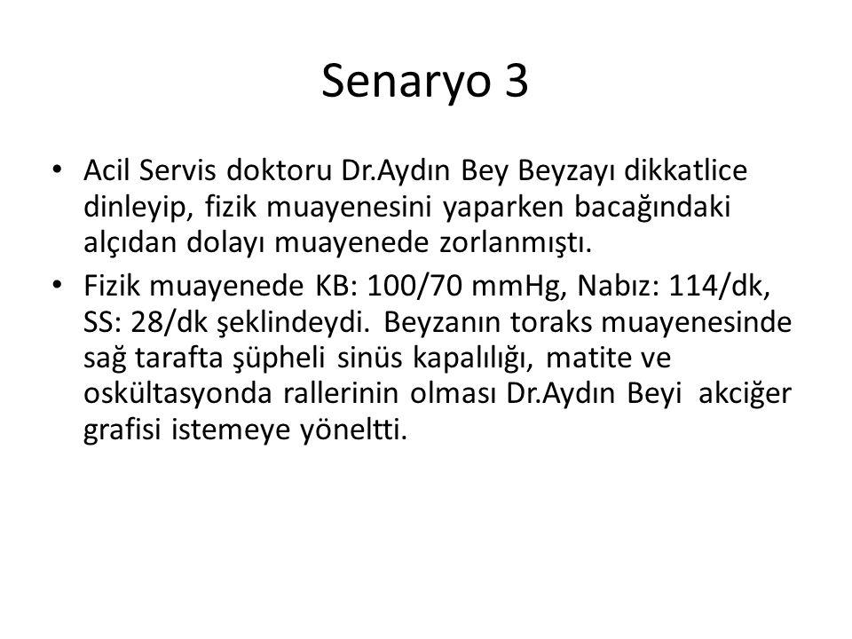 Senaryo 3 Acil Servis doktoru Dr.Aydın Bey Beyzayı dikkatlice dinleyip, fizik muayenesini yaparken bacağındaki alçıdan dolayı muayenede zorlanmıştı. F