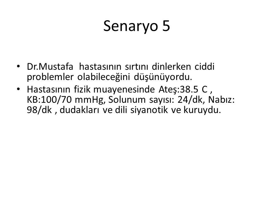 Senaryo 5 Dr.Mustafa hastasının sırtını dinlerken ciddi problemler olabileceğini düşünüyordu. Hastasının fizik muayenesinde Ateş:38.5 C, KB:100/70 mmH