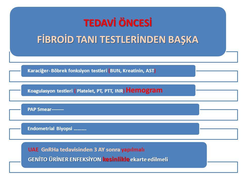 TEDAVİ ÖNCESİ FİBROİD TANI TESTLERİNDEN BAŞKA Karaciğer- Böbrek fonksiyon testleri (BUN, Kreatinin, AST) Koagulasyon testleri ( Platelet, PT, PTT, INR